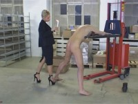 Cock torture and waxing games using a forklift truck