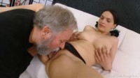 Diana moans as this grey haired dudes licks her young hairy pussy.