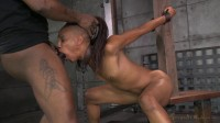 Toned dancer Nikki Darling strictly shackled and throat trained by 2 hard cocks