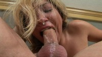 Cute blonde chokes on fat long dick