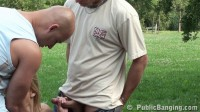 Two guys hard fucked girl on the lawn