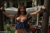 Spanish Hottie gets Throat Fucked on the Street - Bound in front of a busy cafe!