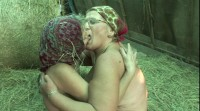 Nasty grannies have lesbian sex in barn