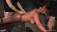 Big butt beauty bound ass up face down and taken two dicks