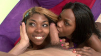 Enjoying interracial threesome with two babes