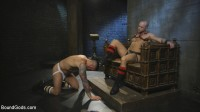 Muscled pig slave gets his first taste of the cattle prod
