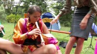 Band Camp Cuties Play The Skin Flute Under Golden Showers Galore