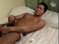 Dirty Asian jerking his thick sausage