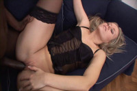 Blond In Stockings Anal Reamed In Doggy