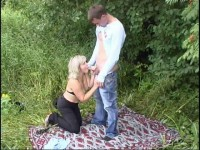 Mature lady fucked in the park for money
