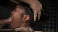 Eager Lotus Lain bound on sybian with drooling deepthroat on big dick