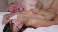 Young Kira was feeling pretty horny and even though this dude was old she had to suck on his cock!