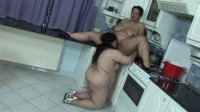 Great lesbian action with BBW bitches in kitchen