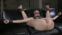 Farmers Daughter bound in leather and chains on the squirt couch. Brutal orgasms, rougher sex!