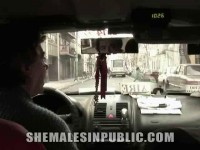 Taxi Gets Showered in Shemale Goo