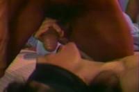 Blindfolded Brunette Takes Two Big Cocks