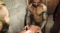 David Andrejz takes some huge dicks down to the basement of his work.
