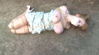 Bound and Gagged – Lorelei Hogtied in her Slip in the Dirt