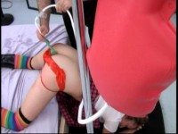 Huge Butt Plug Enema and Paddling for Schoolgirl