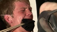 Bryan3-l - Gagged, tied down and fucked, made to watch the hard cock go up his arsehole