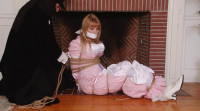 Bound And Gagged – Pink Damsel In The Fireplace – With Music – Lorelei And Jon Woods