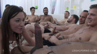 Gangbang for little whore with 10 man