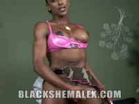 Black Shemale Strokes Her Big Cock