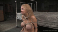 Big breasted blonde Rain DeGrey tightly tied, brutal deepthroat on BBC, massive multiple orgasms!