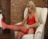 Crossdresser in red