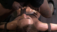 Maddy O'Reilly gets restrained and throatboarded by 2 huge cocks, brutal challenging deepthroat!