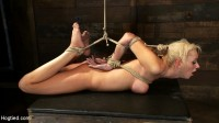Hot blond with big tits, pony tails, and braces.   Face fucked, hogtied & made to cum like a whore.
