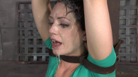 Sexy Sarah Shevon belted down and throatboarded by two huge cocks
