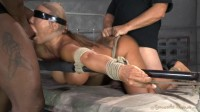 Giant titted MILF Ava Devine blindfolded bound and fucked roughly by 2 cocks, filled and creampied!
