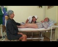 Old couple banging a nurse