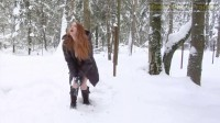Redhead Busty Girl Playing With Snow And With Her Pussy
