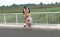Blowjob On A Bridge