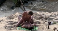 Hot rest on a wild beach (hidden camera)