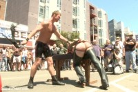 Bound hunk publicly tormented and gang fucked for his first Dore Alley