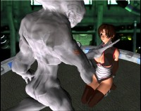 3d Babe fucked by alien monsters