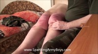 A new soldier arrives, and the sergeant welcomes him with a good spanking
