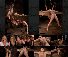 2 girls, massive tits, bound, one suspended, one neck tied down & arched. Both made to brutally cum!