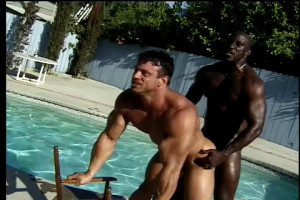 Gay sex in the pool