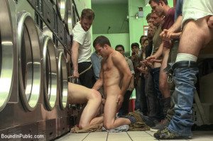 Rude punk gets gangbanged and shoved in the dryer at the laundromat