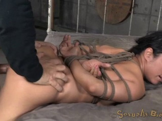 Gigantic Titted Asain Is Trussed Savagely Face Boinked Made To Burst