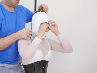 White Fetish Package Masked Armbindered Tied