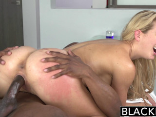 Luxurious Light-haired Was Always Attracted By Big Ebony Dicks