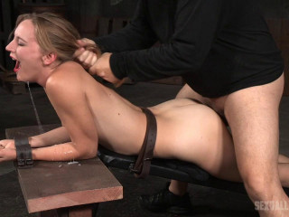 Mona Wales belt bound, chained and facehole trained