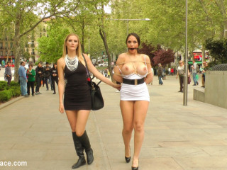 Big Breast Spanish Supermodel Strapped & Dragged Through Madrid City Center