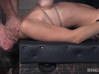 Hot Mummy has her tits brutally bound, her gullet pounded upside down, and made to spunk from massive cock!
