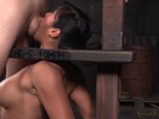 Big-titted Asian Mia Li chained to sybian and throatboarded sans grace by two rock hard cocks!